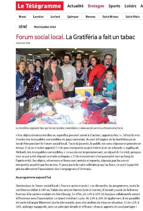 26.01.14 Forum social local. La Gratiféria a fait un tabac - Séné - Le Télégramme